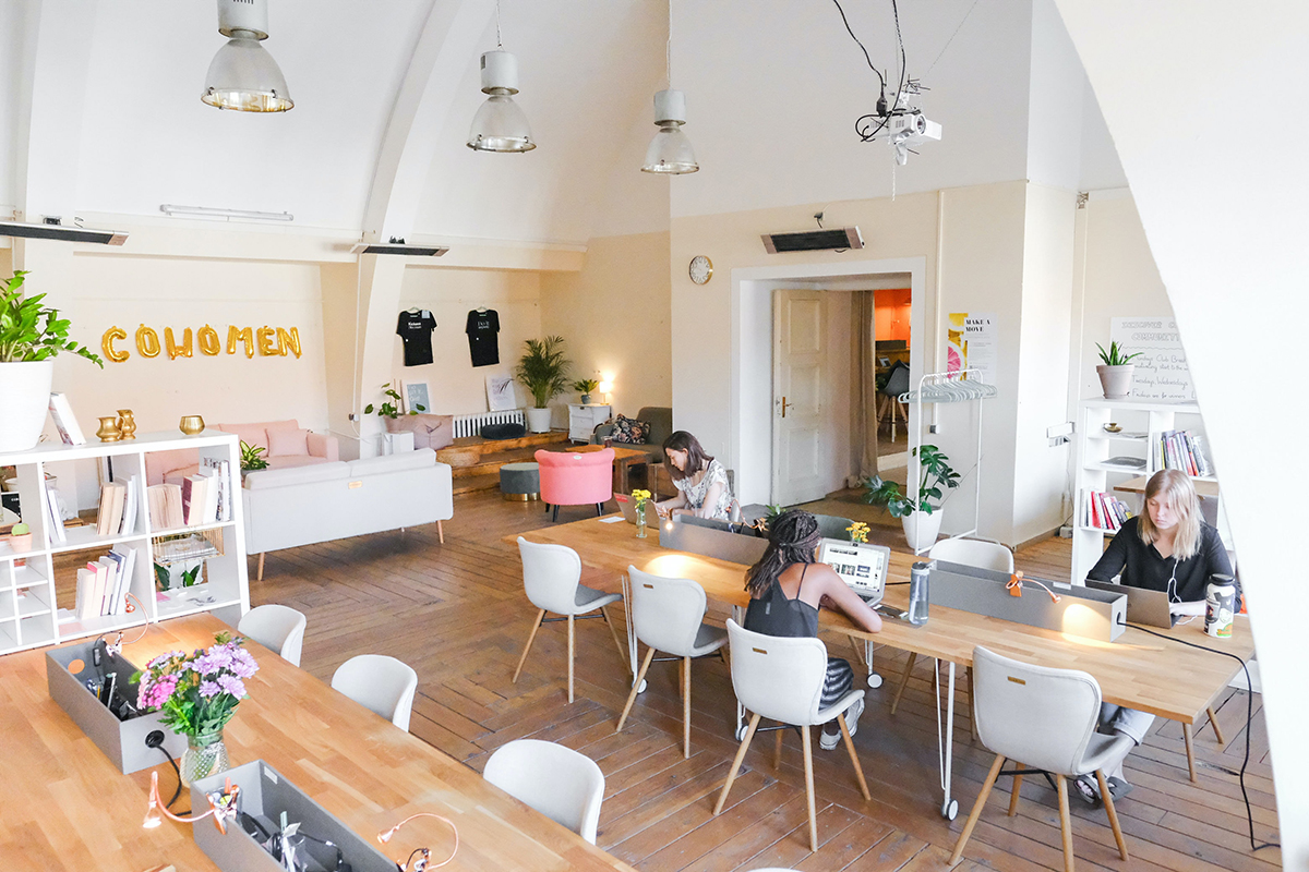 Women working in a co-working space
